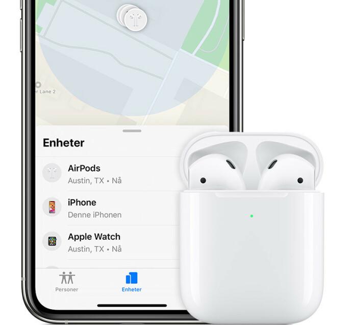 Apples Hvor er?-tjeneste blir oppgradert i iOS 15 slik at du kan finne enkelte Airpods-modeller enklere. Foto: Apple