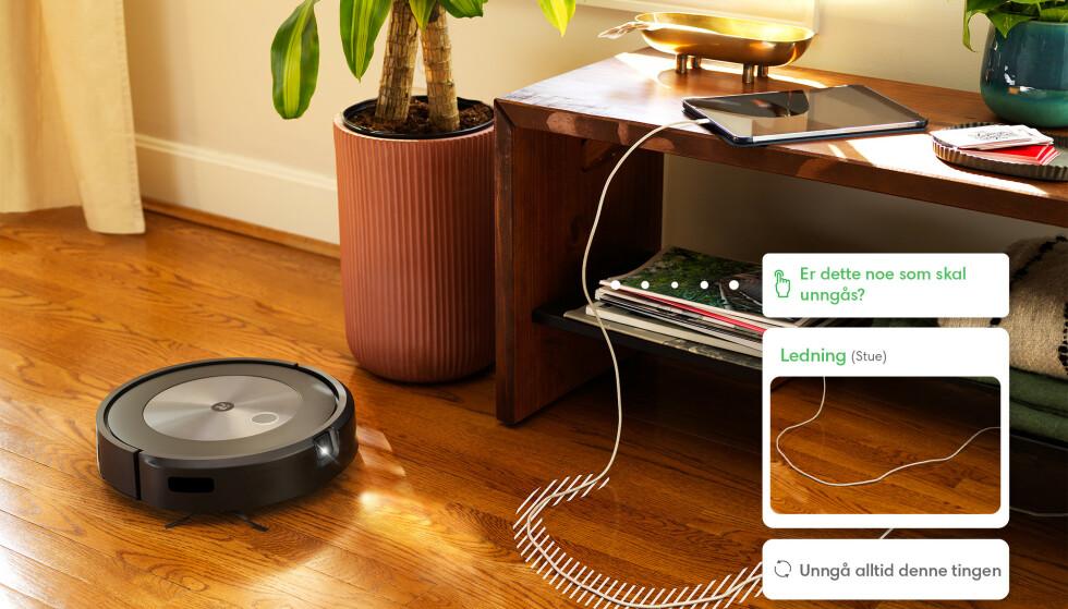 OPPDAGER LEDNINGER: Her har robotstøvsugeren oppdaget en løs ledning. Brukeren får så spørsmål om denne alltid skal unngås, altså at den er der permanent. Foto: iRobot