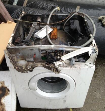 BRANNFARLIG: Vaskemaskiner og tørketromler brenner fortsatt. Foto: Elsikkerhetsportalen.no