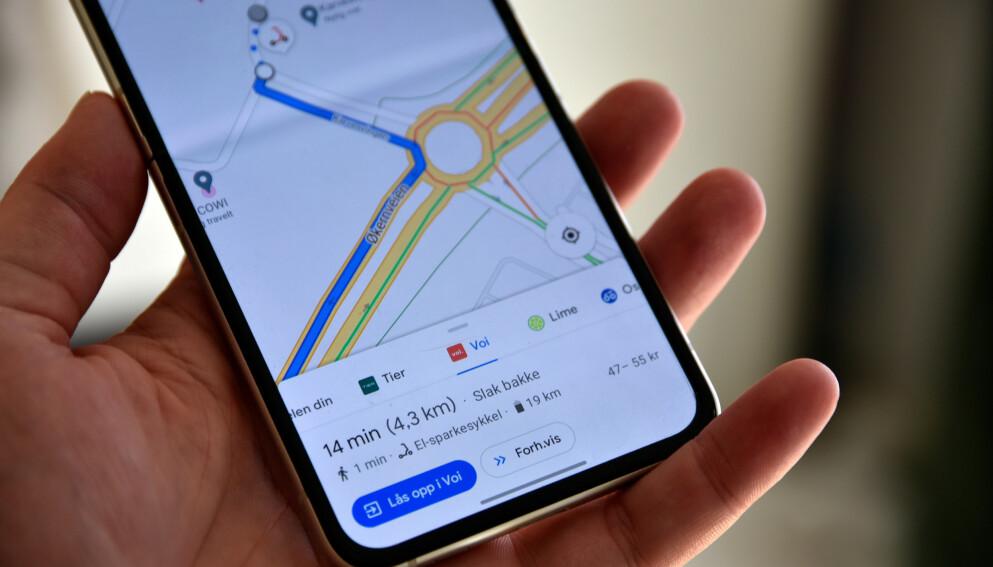 FINNER HOS FLERE: Google Maps har nå fått støtte for å finne sykler både fra Tier, Voi, Lime og bysykkel. Foto: Pål Joakim Pollen