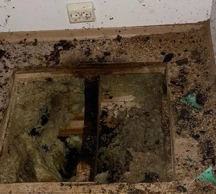 Også gulvet med varmekabler tok skade av putetørkingen. Foto: Skien brann- og feievesen