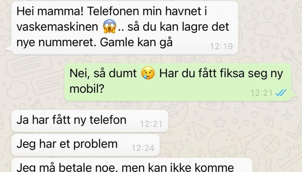 SVINDEL: Foreldre opplever svindel på WhatsApp, hvor noen utgir seg for å være barnet deres. Foto: Politiets Nettpatrulje - Øst Politidistrikt.