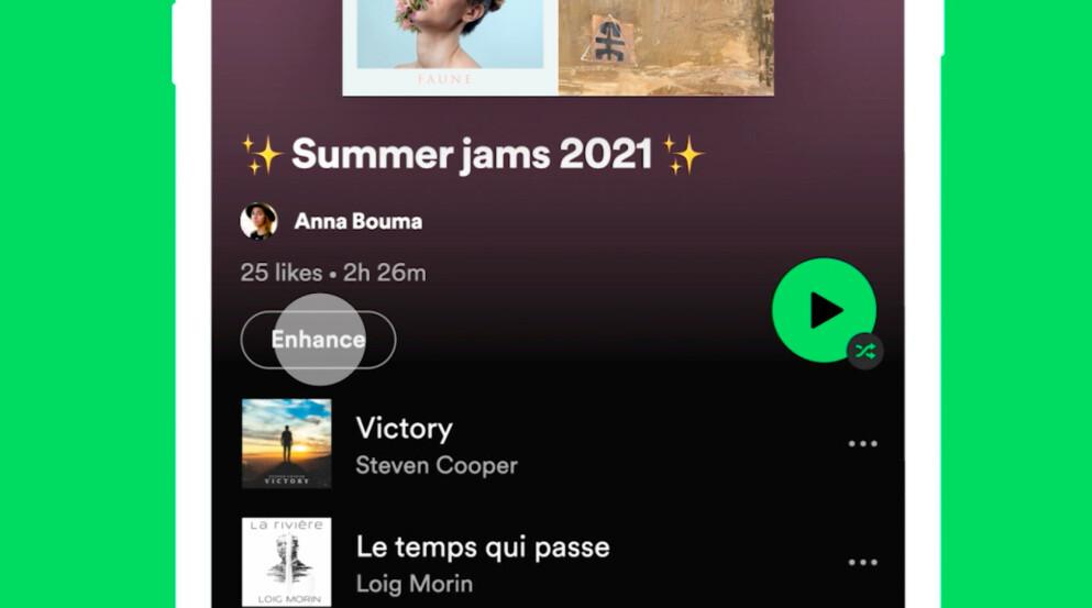 KOMMER SNART: Fra i dag av ruller Spotify ut sin nye «enhance»-knapp til betalende bruker. Foto: Spotify