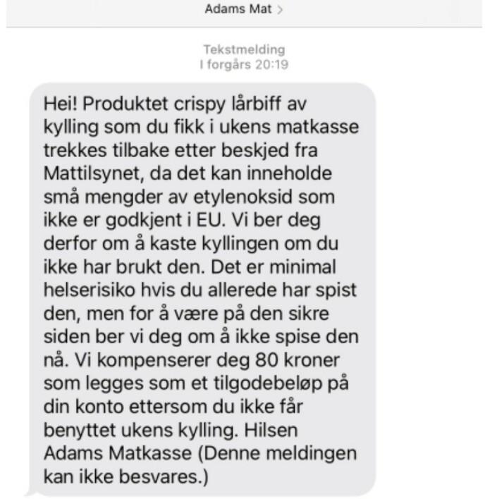 Dinside har fått tekstmeldingen videresendt fra en Adams Matkasse-kunde. Foto: Skjermdump mobil