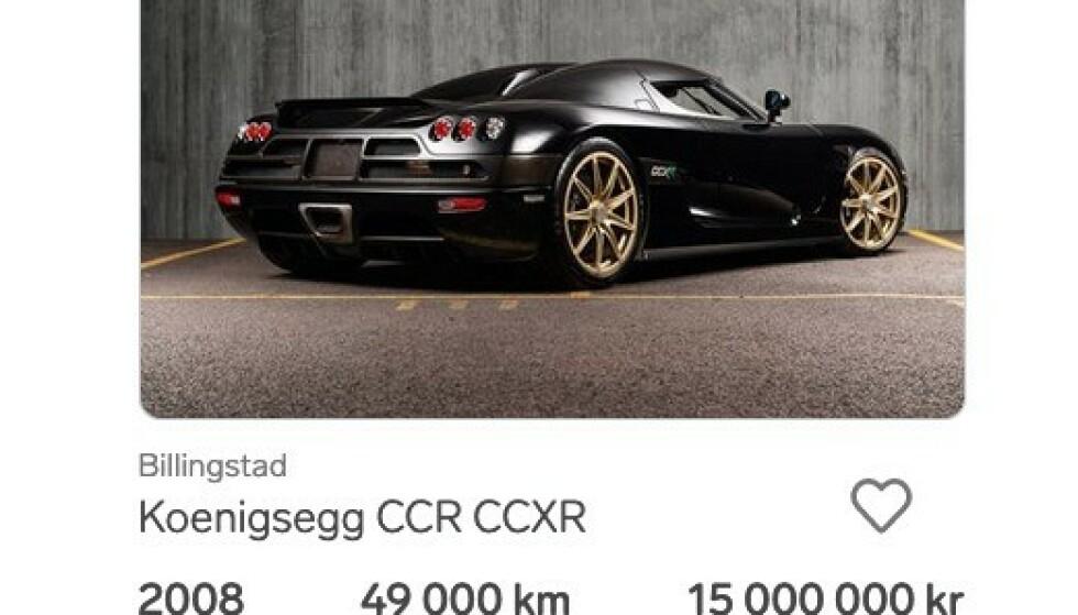 BIL TIL 15 MILLIONER: Det er bygget bare et fåtall av Koenigsegg CCXR. Prisen på 15 millioner er det du må ut med for en slik bil, men denne som står til salgs i Oslo er egentlig ikke til salgs.