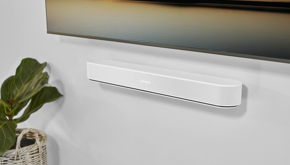 Sonos Beam Gen. 2 kan også festes til vegg. Foto: Sonos