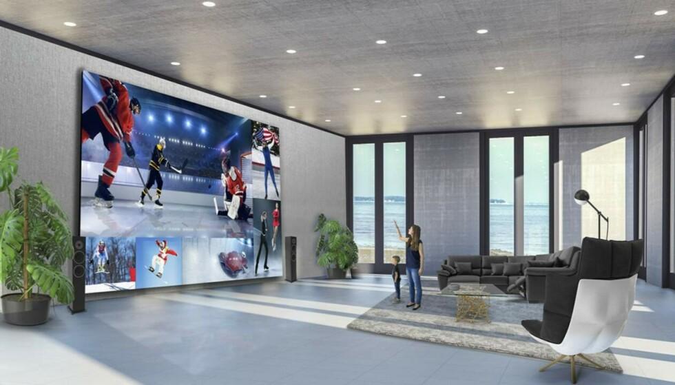 LG DVLED: En 325 tommer store TV på veggen vil definitivt imponere vennegjengen. Foto: LG
