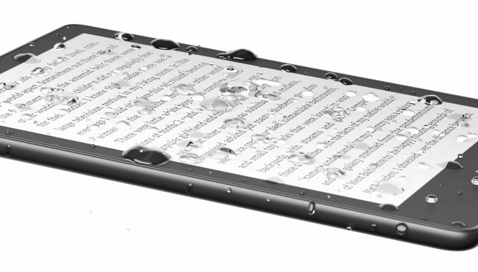Kindle Paperwhite er IPX8-sertifisert og tåler en sprut eller to. Foto: Amazon