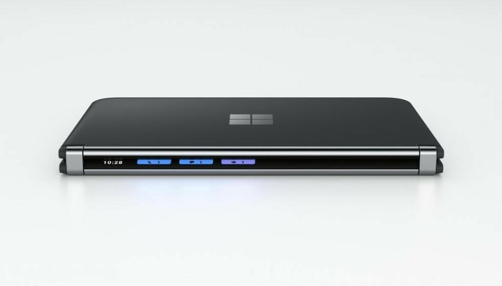 De Surface Duo 2 heeft een klein scherm waarop je meldingen en dergelijke ziet als de telefoon is opgevouwen.  Foto: Microsoft