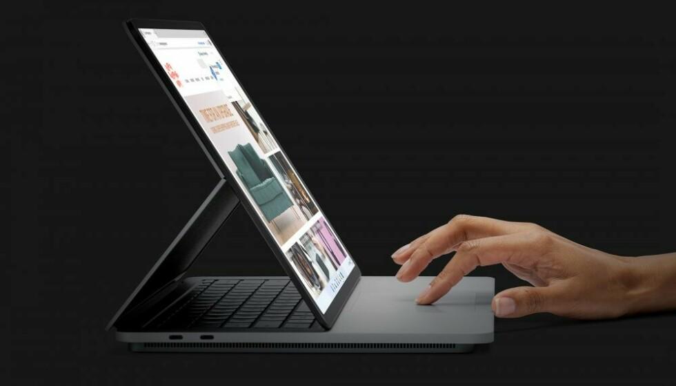 SURFACE LAPTOP STUDIO: Microsofts nye Surface-flaggskip er spesiell på flere måter. Legg blant annet til basen på undersiden. Foto: Microsoft