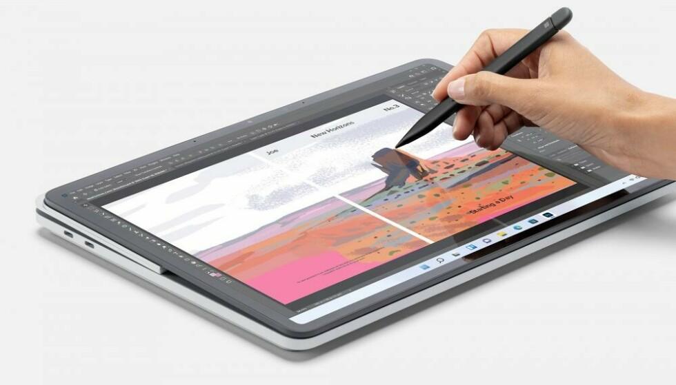 Het scherm kan plat worden gelegd.  Foto: Microsoft