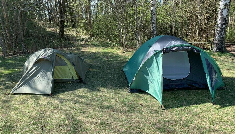 TO TELT: Tunnelteltet til venstre egner seg bedre for noen typer telttur enn kuppelteltet til høyre. Foto: Eilin Lindvoll