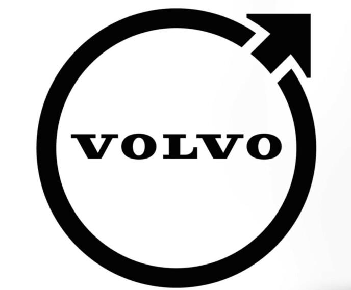 NY VOLVO-LOGO: Den nye logoen er svart og todimensjonal, samtidig som broen over ringen er borte.
