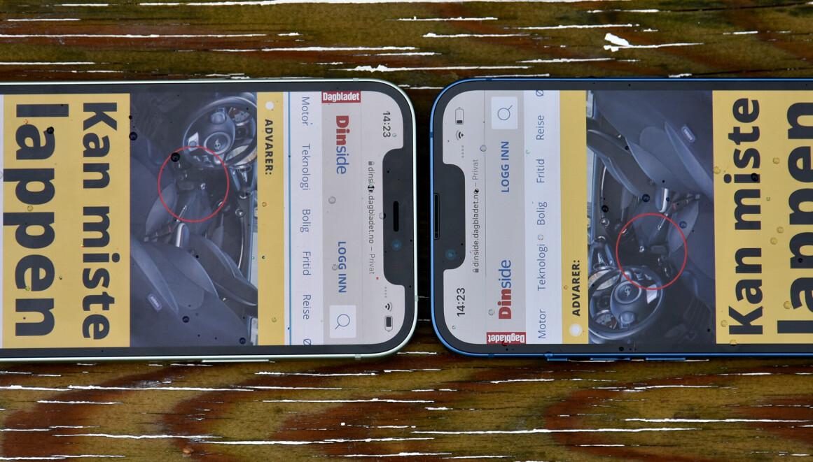 KJÆRE, JEG …: Busslomma, eller «notchen», er nå krympet omtrent 20 prosent kontra iPhone 12-modellene, men Apple har fortsatt ikke gitt oss batteriprosenten tilbake på topplinja. Foto: Pål Joakim Pollen