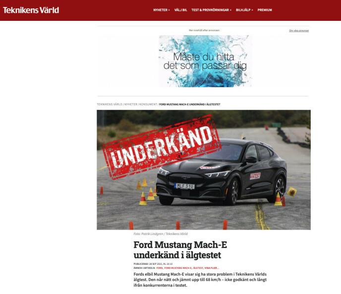 FAKSIMILE: Fra Teknikens Världs test av Ford Mustang Mach-E.