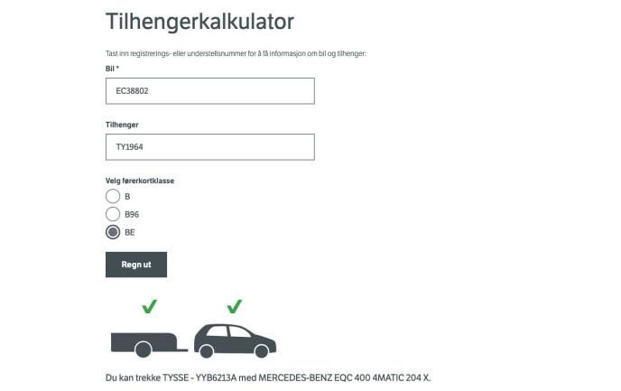 SJEKK DENNE: Med noen få tastetrykk gir Vegvesenets tilhenger-kalkulator deg svaret på om du kjører lovlig.
