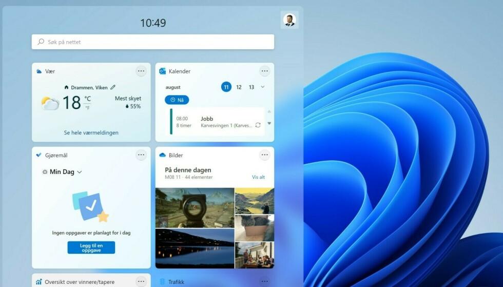 WIDGETS: Windows 11 får en ny widgets-meny med rask tilgang til kalender, vær, nyheter og andre apper.