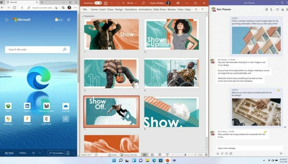 Du kan enkelt sidestille tre apper. Foto: Microsoft