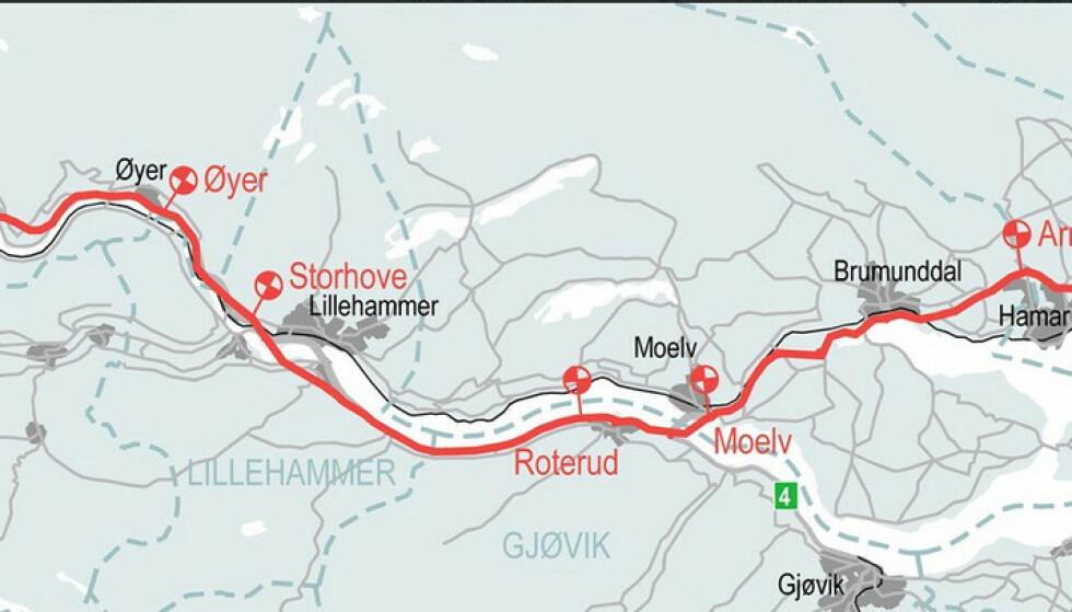 ENDA DYRERE I GUDBRANDSDALEN: Det er dyrt å kjøre Gudbrandsdalen nå og enda dyrere skal det bli når fire nye bommer mellom Moelv og Lillehammer kommer opp i 2025. Ill: Nye veier