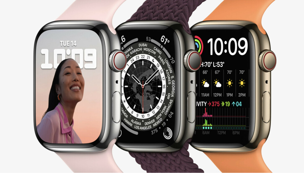 NY KLOKKE: Nye Apple Watch 7 er selskapets sjuende generasjon smartklokke. Med den ble hurtiglading lansert. Foto: Apple