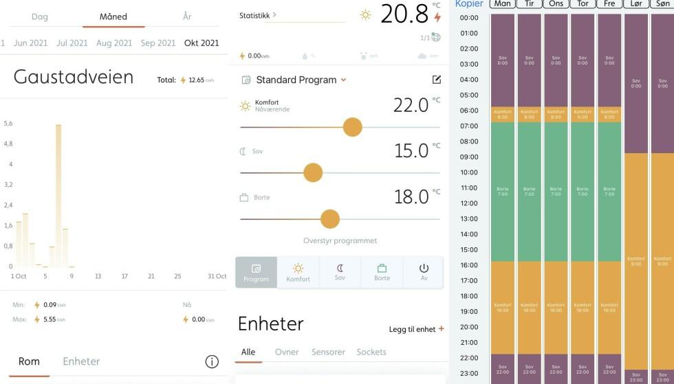 APP-UTVALG: Her ser du noen av funksjonene i Millheat-appen som styrer ovnen. Fra venstre ser du oversikt over totalforbruk av ovnen, hvordan du justerer temperaturen til ulike tider av døgnet og oppsett av eget ukesprogram. Foto: skjermdump